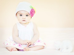 Pretty with her kitty  (Shana Rae {Florabella Collection}) Tags: flowers light portrait baby white girl hat animal stuffed nikon dress natural knit kitty 85mm dreamy 8monthsold d700 shanarae florabellatextures mypreciousbabygirl withherkitty