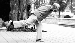 balance (ROSS HONG KONG) Tags: china park bw white lake man black exercise sony beijing elderly balance alpha taichi houhai blackdiamond a900 ysplixblack
