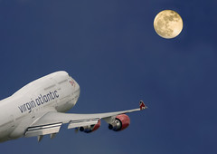 Fly me to the moon Topaz Version (tramsteer) Tags: uk longexposure moon man night airplane manchester airport lowlight nikon nocturnal aircraft aviation telephoto nighttime devon spoof kingsbridge takeoff runway lunar nocturne hdr airstrip jumbo virginatlantic airfield manchesterairport topaz nocturn ringway richardbranson boeing747400 longlens tramsteer sigma500mm750mm