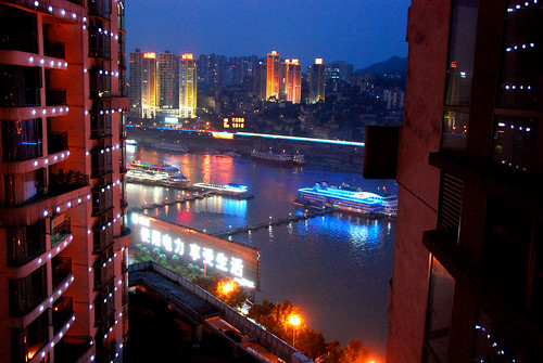 view from my aunt's apartment at night, chongqing