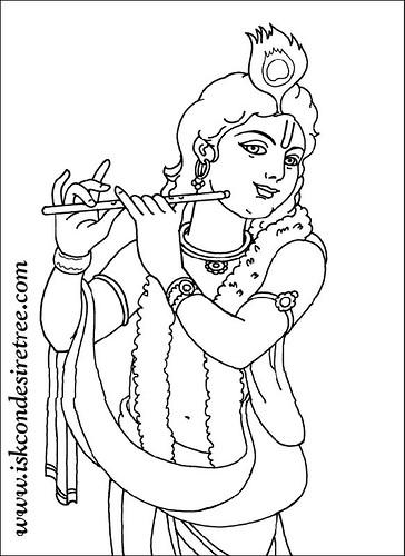 Krishna Line Drawing Colouring krishna poster-