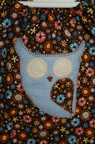 Detail of Owl Applique on Peasant Blouse