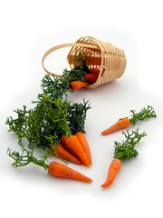 Carrots (Shay Aaron) Tags: food orange green scale kitchen miniature basket handmade fake mini vegetable fimo tiny carrot veggie 12th 112 dollhouse petit