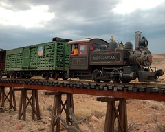 Red Rock Canyon Run (Bodie Bailey) Tags: redrockcanyon california railroad trestle sky clouds train losangeles desert steam silverlake rails scalemodel rockawayrecords argusdigital