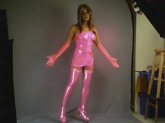 Kacey's Pink Ensemble Video! (kaceycd) Tags: shiny highheels boots tgirl pantyhose crossdress spandex lycra tg stilettos kinkyboots thighboots minidress wetlook platformboots stilettoboots tubedress stockingboots