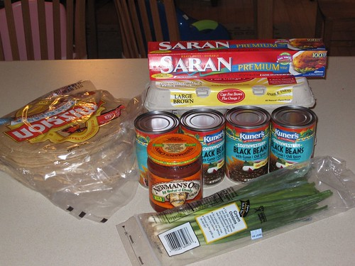 Ingredients for mass breakfast burritos