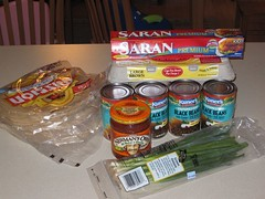 Ingredients for mass breakfast burritos