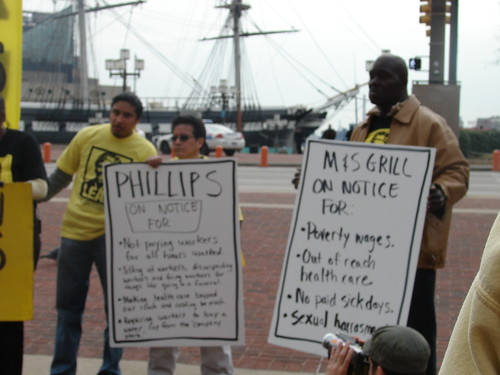 Workers protesting in the Inner Harbor