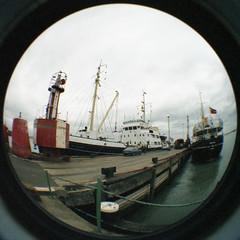 THV Siren, THV Mermaid, at Harwich, 7/8/85 (John In Pink) Tags: fisheye mermaid 1985 siren harwich trinityhouse buoyant