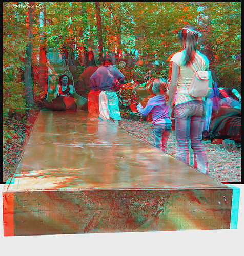 3D Photo park red and blue