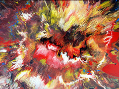 Colourful Abstract Painting (markchadwickart) Tags: red white abstract black color colour yellow painting fire energy colorful warm paint acrylic bright explosion heat oil colourful bang