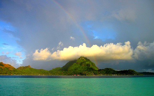 Rainbow through cloud over Mount Otemanu Bora Bora by mick62.