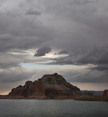 Lake Powell rock punches a hole in the clouds (Anitab) Tags: mountain lake clouds stormy lakepowell