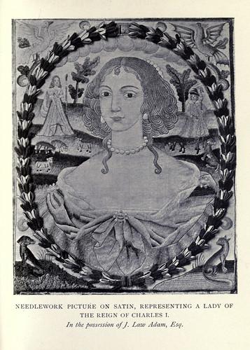 027-Cuadro bordado en saten representando una dama del reinado de Charles I