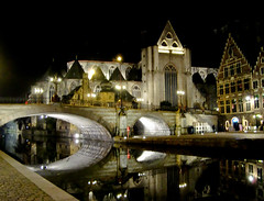 DSC00980 (touristonmymind) Tags: bridge night river cathedral belgium gent