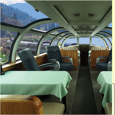 Train Chartering - The Puget Sound private rail car dome lounge