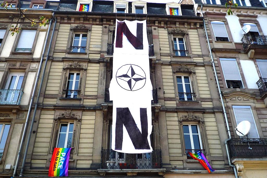 Strasbourg, protestation contre le sommet de l'Otan.