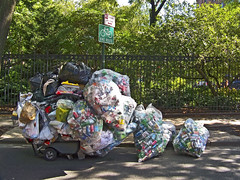 Recycling Route () Tags: nyc newyorkcity homeless pile depression gothamist bags cans recycling
