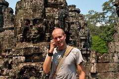 Me at Bayon, Angkor Thom (Christian Haugen) Tags: travel architecture cambodia cambodian khmer culture backpacking angkor backpacker rtw vii bayon angkorthom aroundtheworld 175days jayavarmann