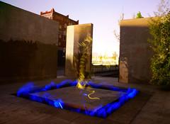 Fresh Water (binaryCoco) Tags: blue light orange lightpainting abandoned fountain licht geek expo hannover blau pavillon verlassen weltausstellung creativecomments leuchtstäbchen gärtenimwandel