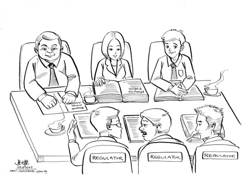 Cartoon illustration for Daxone Dumex Singapore - meeting with Regulators