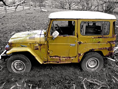 End of Days (mktedman) Tags: old ireland field yellow blackwhite rust jeep mark toyota bog facebook tedman flickriver mktedman marktedman