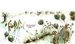 snow hunters (alisonkingillustrator) Tags: winter roses tree happy war king guitar farm farming illustrations drawings flags tudor ring story 1940s poppies spitfire tradition alison streetparty partridges warplanes farmclothes