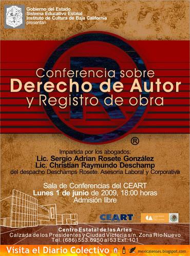 Conferencia sobre Derecho de Autor y Registro de Obra en CEART 1 de Junio GRATIS