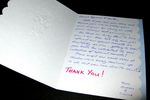 Andrew & Clarice thank you card