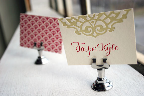 Lashar Letterpress Place Card w/ Back Patterning