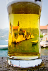 Reflections of Perast (TDR Photographic) Tags: light sea water beer canon reflections coast drink ale montenegro perast g9
