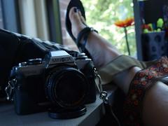 Taking all my time (sassylittlelulu) Tags: portrait selfportrait self olympus sp e420 olympuse420 beenalittlelostlately takeingadarkroomclassandmyfilmcamerashavebeentakingallmytime