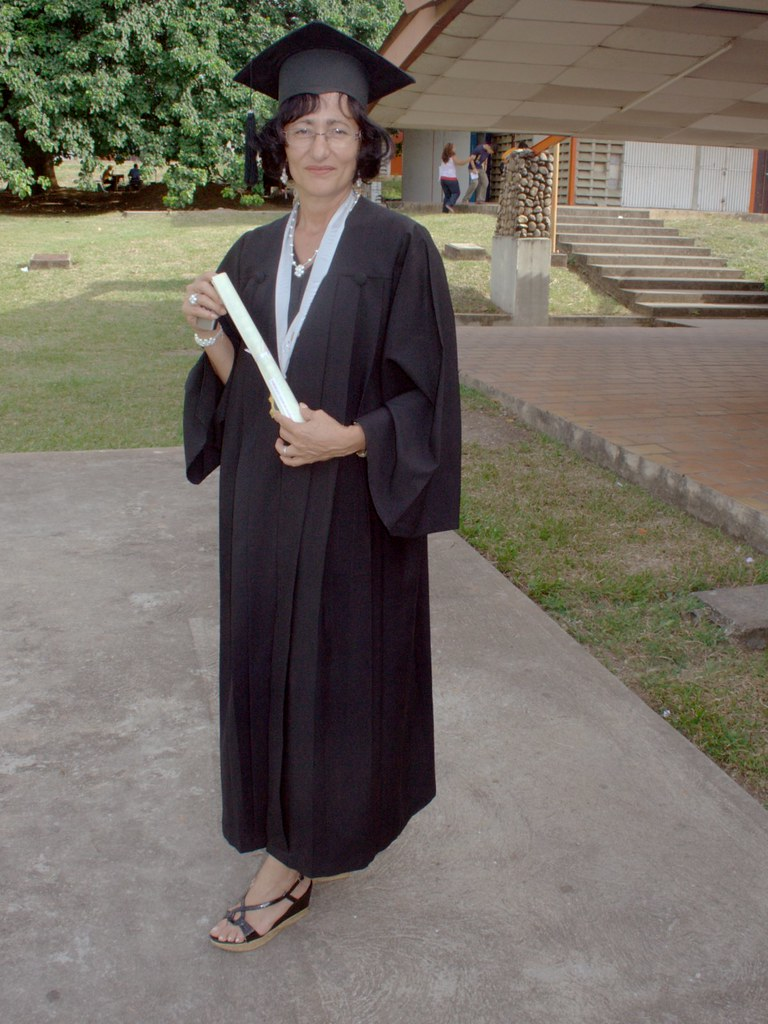 Luz Maria with her diploma