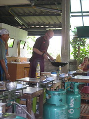 Showing off my new wok flipping skills at the Best Thai Cookery School
