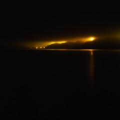 the bay in a mist (akira ASKR) Tags: mist fog night bay fuji hasselblad okinawa 沖縄 provia provia100f 500cm 夜 霧 nago rdpiii campschwab 名護 名護市 planarcf80mm 大浦湾 夜霧 キャンプ・シュワブ