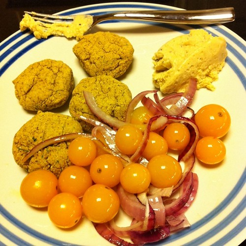 Baked Falafel with chile hummus, roasted tomatoes & peppers