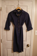 vintage shirt dress. (michellenjackson) Tags: red white vintage treasure dress navy shirtdress goodwill thirfted belteddress