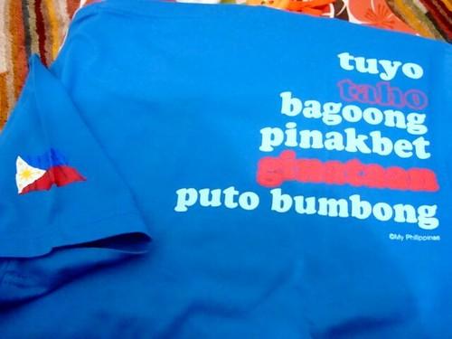 Back print) Tuyo, taho, bagoong, pinakbet, ginataan, puto bumbong: I