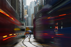 Compressed (briyen) Tags: people bus rain hongkong blurry day cityscape crowd tram rail hong kong  colourartaward artlegacy lplongexposure