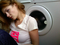mrcz 1484 (mariczka) Tags: pink white selfportrait home me kitchen girl face promotion digital webcam photobooth handmade redhead washingmachine nonphotoshop audel tshitr cfye mariczka shuttercrack