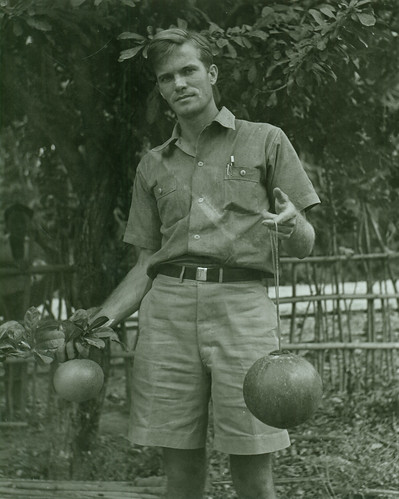 Hugo Curran with fruit of Crescentia cujete
