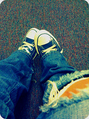 1_2 (starredx3sunsets) Tags: old blue color love feet apple colors vintage carpet shoes waiting phone heart lace perspective ripped sneakers jeans converse worn rug torn date multicolored upclose waitingroom laces iphone laced stitcking