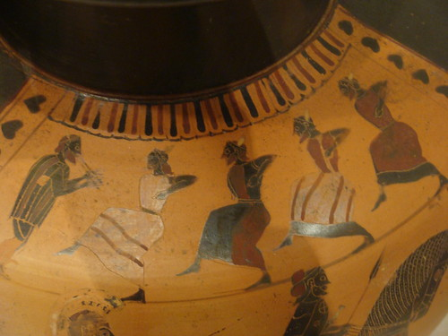 Dancing girls on an ancient Greek amphora at the Metropolitan Museum of Art in New York