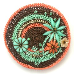 CROCHET BROOCH WITH VINTAGE FLOWERS, SEED BEADS AND FREEFORM EMBROIDERY (APPLIQUE-designedbyjane) Tags: flowers flower vintage beads embroidery crochet felt freefor