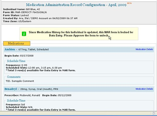 Screenshot of MAR Configuration page after Search.