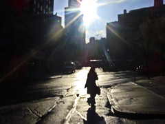 -- (felix.castor) Tags: nyc eastvillage blur glare monday crosswalk aftertherain nycsky 040609 stuyvesantpl
