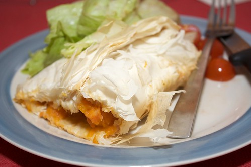 pumpkin and sweet potato filo pastry