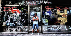 "Day 99 of 365. - ""Me"" (ArchedRoof) Tags: urban selfportrait newyork building abandoned dark graffiti awesome gritty horny derelict shopfront eggyolk verycool samcornwell"