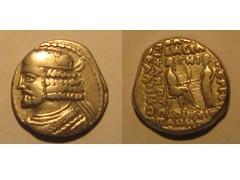 Ancient Parthian  coin: Vardanes I tetradrachm (Baltimore Bob) Tags: old money silver persian coin ancient coins antique persia seleucia arsacid arsakid vardanes