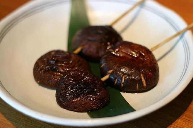 Shitake Kushiyaki - Grilled Fresh Black Mushroom